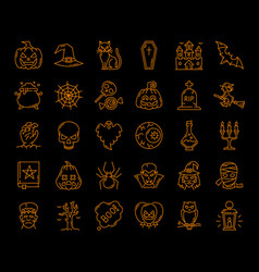 halloween ghost pumpkin witch or spiderweb icons vector image