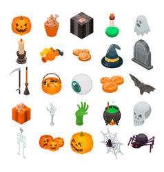 halloween icon set isometric style vector image