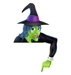 Halloween witch pointing down vector