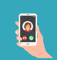 hand holding smartphone with incoming call on the vector image