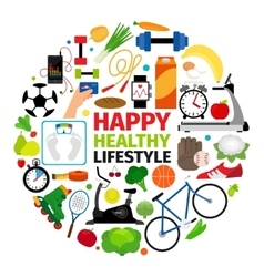 Healthy lifestyle round emblem vector
