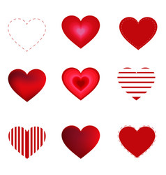 hearts set isolated on white background vector image
