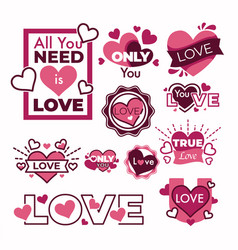 hearts stickers and isolated icons greeting card vector image