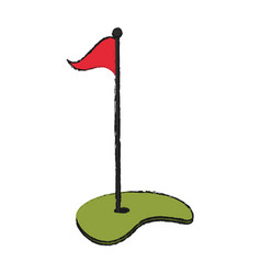Hole with flag golf icon image vector