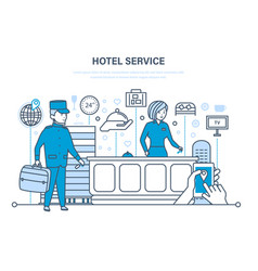 hotel service people working in hotel reception vector image