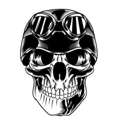 isolated skull with biker helmet for logo and vector image