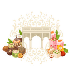 Isometric traditional turkish delight fruit and vector