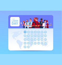 labor day 1 may on calendar with group of people vector image