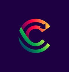 letter c logo with arrow inside vector image
