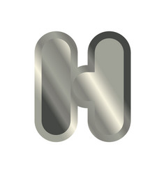 Letter h steel font metal alphabet sign iron abc vector