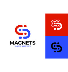 Letter s magnet logo simple and clean flat design vector