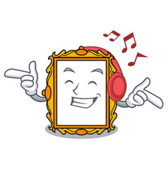 Listening music picture frame mascot cartoon vector