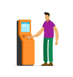 Man at information terminal stand business vector
