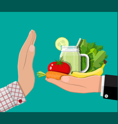 Man refuses take healthy food with hand gesture vector