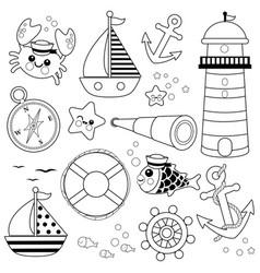 Marine nautical collection vector