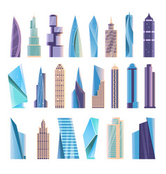 Modern skyscraper building isolated set on white vector