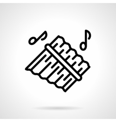 Pan flute simple black line icon vector