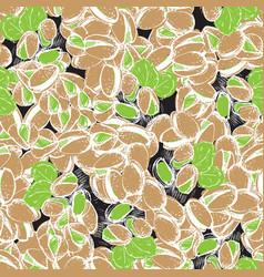 pistachio hand draw seamless background pistachio vector image