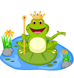 Prince frog cartoon presenting vector
