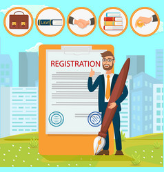Registration documents puts signature stamp flat vector