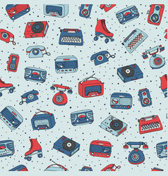 Retro seamless pattern with antique tech radio vector