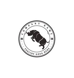 Retro vintage angry rhino rhinoceros badge emblem vector