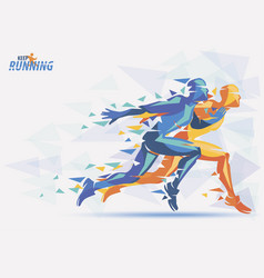 Running athletes sport and competition background vector