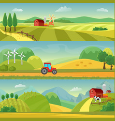 Rural landscape with fields and hills and with a vector
