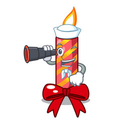 Sailor with binocular christmas candle combined vector