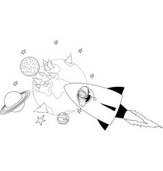 Santa Claus flies on a rocket vector image