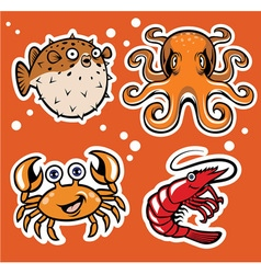 Sealife cartoon character pack vector