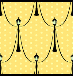 Seamless vintage pattern with black streetlight vector