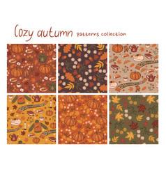 Set 6 cozy autumn patterns graphics vector