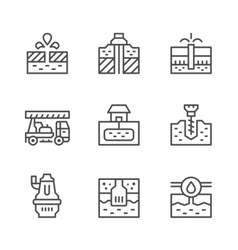 Set line icons of water bore vector