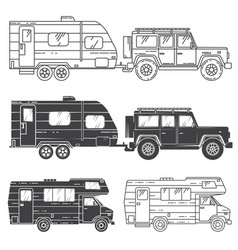 Set of camper vans icons vector