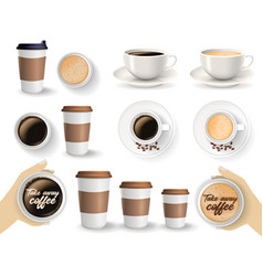 Set of coffee cups on the white background vector