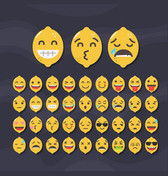 Set of cute fruit smiley lemon emoticons vector