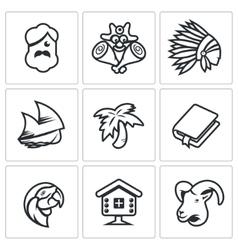 Set of Life on Desert Island Icons vector image