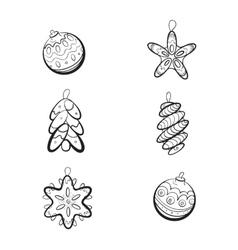 Set of six Christmas toys vector image