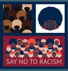Set patterns no to racism vector