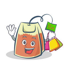 shopping tea bag character cartoon vector image