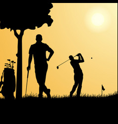 Silhouettes golfers on playground template vector