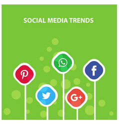 Social media trends green hanging banner vector