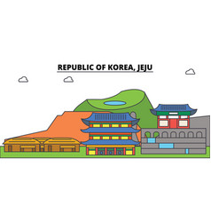 South korea jeju outline city skyline linear vector