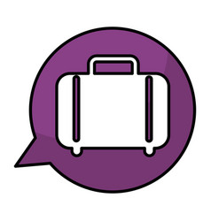 speech bubble with suitcase travel isolated icon vector image