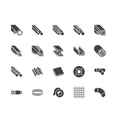 Stainless steel flat glyph icons set metal sheet vector
