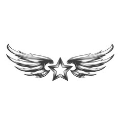 Star and wings tattoo vector