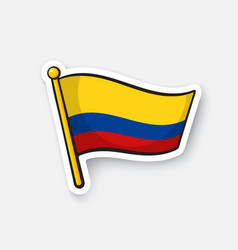 Sticker national flag colombia vector