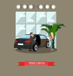 Test drive concept in flat vector