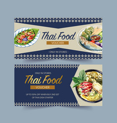 Thai food voucher design with green curry vector